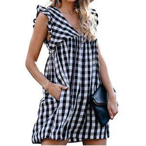 new Plaid Mini Summer Dress black/white L